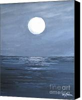 Silver Moonlight Canvas Prints - Silver Moon Canvas Print by Stacey Zimmerman
