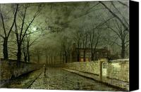 Country Painting Canvas Prints - Silver Moonlight Canvas Print by John Atkinson Grimshaw