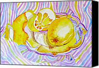 Elena Mahoney Canvas Prints - Silver plate with lemons Canvas Print by Elena Mahoney