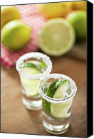 Food And Drink Canvas Prints - Silver Tequila, Limes And Salt Canvas Print by by Marion C. Haold, www.marionhassold.com