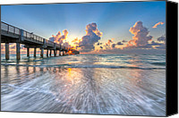 Florida Bridge Canvas Prints - Silver Tides Canvas Print by Debra and Dave Vanderlaan