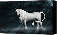 Legend Canvas Prints - Silver Unicorn Standing in Miisty Forest Canvas Print by Ethiriel  Photography