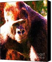 Primates Canvas Prints - Silverback Gorilla . Photoart Canvas Print by Wingsdomain Art and Photography