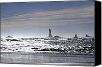 Second Beach Canvas Prints - Silvery Ocean at Second Beach Canvas Print by Marie Jamieson
