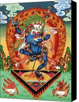 Thangka Canvas Prints - Simhamukha - Lion Face Dakini Canvas Print by Sergey Noskov