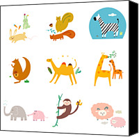 Kangaroo Canvas Prints - Simple Life Icon Canvas Print by Eastnine Inc.