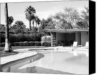 Frank Sinatra Canvas Prints - Sinatra Pool And Cabana Bw Canvas Print by William Dey