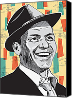 Illustration Canvas Prints - Sinatra Pop Art Canvas Print by Jim Zahniser
