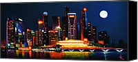 Skylines Painting Canvas Prints - Singapore Aglow Canvas Print by Thomas Kolendra
