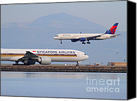 Airways Canvas Prints - Singapore Airlines And Delta Airlines Jet Airplane At San Francisco International Airport SFO Canvas Print by Wingsdomain Art and Photography