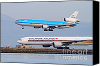 Airways Canvas Prints - Singapore Airlines And KLM Airlines Jet Airplane At San Francisco International Airport SFO 7D12153 Canvas Print by Wingsdomain Art and Photography