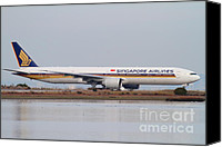 Airways Canvas Prints - Singapore Airlines Jet Airplane At San Francisco International Airport SFO . 7D12142 Canvas Print by Wingsdomain Art and Photography