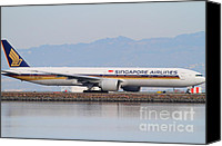 Airways Canvas Prints - Singapore Airlines Jet Airplane At San Francisco International Airport SFO . 7D12145 Canvas Print by Wingsdomain Art and Photography