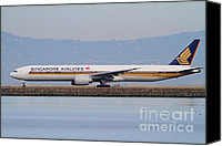 Airways Canvas Prints - Singapore Airlines Jet Airplane At San Francisco International Airport SFO . 7D12163 Canvas Print by Wingsdomain Art and Photography