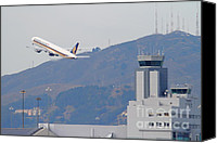 Airways Canvas Prints - Singapore Airlines Jet Airplane Over The San Francisco International Airport SFO Air Control Tower Canvas Print by Wingsdomain Art and Photography