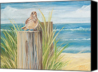 Landscape Pastels Canvas Prints - Singing Greeter at the Beach Canvas Print by Michelle Wiarda