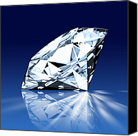 Crystal Jewelry Canvas Prints - Single Blue Diamond Canvas Print by Setsiri Silapasuwanchai