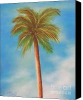 Palm Trees Pastels Canvas Prints - Single Palm Tree Canvas Print by Gabriela Valencia