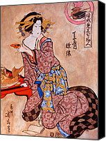 Asian Art Canvas Prints - Sipping Sondra Canvas Print by Tom Roderick