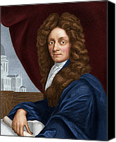 Christopher Wren Canvas Prints - Sir Christopher Wren, English Architect Canvas Print by Maria Platt-evans