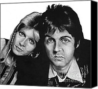 Celebrities Drawings Canvas Prints - Sir Paul and Lady Linda Canvas Print by Sheryl Unwin