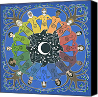 Crescent Moon Canvas Prints - Sister Circle Canvas Print by Karen MacKenzie