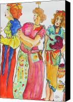 Ladies Drawings Canvas Prints - Sisters Canvas Print by Claire Sallenger Martin