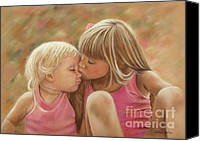 Kiss Pastels Canvas Prints - Sisters Canvas Print by Colleen Quinn