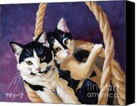Black And White Cats Canvas Prints - Sisters Canvas Print by Pat Burns