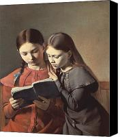 Library Painting Canvas Prints - Sisters Reading a Book Canvas Print by Carl Hansen