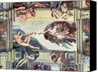 Fresco Canvas Prints - Sistine Chapel Ceiling Creation of Adam Canvas Print by Michelangelo