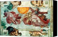 Fresco Canvas Prints - Sistine Chapel Ceiling Creation of the Sun and Moon Canvas Print by Michelangelo