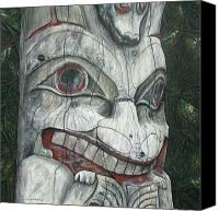 Wood Reliefs Canvas Prints - Sitka Totem-Alaska Canvas Print by Elaine Booth-Kallweit