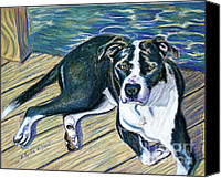Boxer Pastels Canvas Prints - Sittin on the Dock Canvas Print by D Renee Wilson