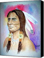 Bull Pastels Canvas Prints - Sitting Bull Canvas Print by John De Young