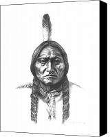 Bulls Drawings Canvas Prints - Sitting Bull Canvas Print by Lee Updike