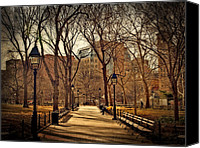 Park Benches Photo Canvas Prints - Sitting In The Park Canvas Print by Kathy Jennings
