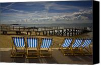 Beach Canvas Prints - Six empty deckchairs Canvas Print by Sheila Smart