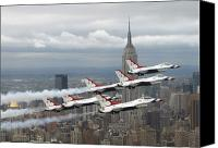 Demonstration Photo Canvas Prints - Six F-16 Fighting Falcons With The U.s Canvas Print by Stocktrek Images