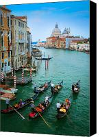 Gondoliers Canvas Prints - Six Gondolas Canvas Print by Inge Johnsson