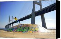Active Canvas Prints - Skate Under Bridge Canvas Print by Carlos Caetano