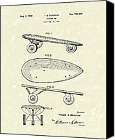 Skates Canvas Prints - Skateboard Coaster Car 1948 Patent Art  Canvas Print by Prior Art Design