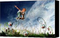 Fantasy Canvas Prints - Skateboarder and friends Canvas Print by Carol and Mike Werner