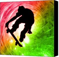Teenager Tween Silhouette Athlete Hobbies Sports Canvas Prints - Skateboarder in a Psychedelic Cyclone Canvas Print by Elaine Plesser