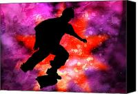 Teenager Tween Silhouette Athlete Hobbies Sports Canvas Prints - Skateboarder in Cosmic Clouds Canvas Print by Elaine Plesser