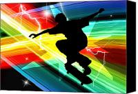 Athletic Digital Art Canvas Prints - Skateboarder in Criss Cross Lightning Canvas Print by Elaine Plesser