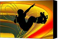 Teenager Tween Silhouette Athlete Hobbies Sports Canvas Prints - Skateboarding in the Bowl Silhouette Canvas Print by Elaine Plesser