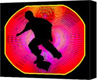 Teenager Tween Silhouette Athlete Hobbies Sports Canvas Prints - Skateboarding on Fluorescent Starburst Canvas Print by Elaine Plesser