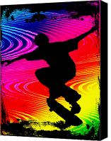 Teenager Tween Silhouette Athlete Hobbies Sports Canvas Prints - Skateboarding on Rainbow Grunge Background Canvas Print by Elaine Plesser