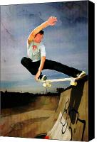 Teenager Tween Silhouette Athlete Hobbies Sports Canvas Prints - Skateboarding the Wall  Canvas Print by Elaine Plesser
